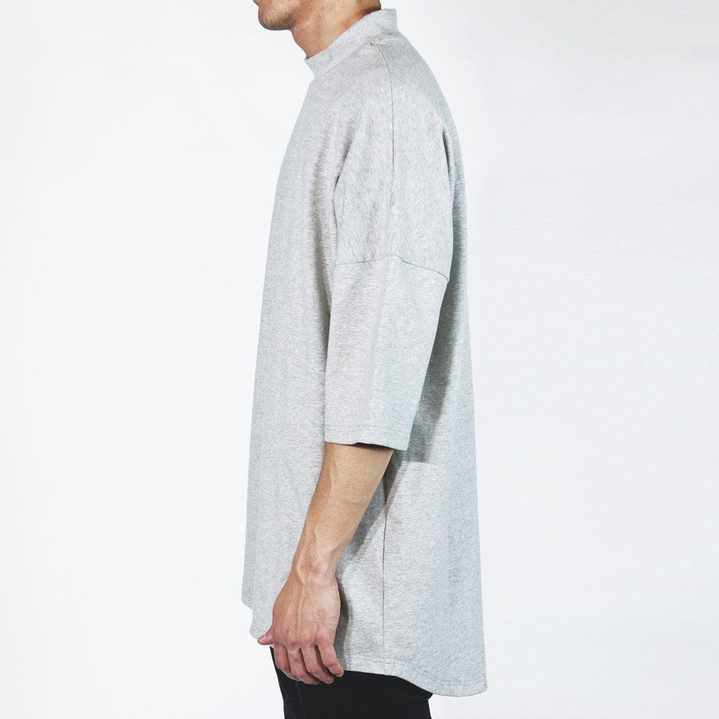 Mock Neck Shirt - Heather Grey