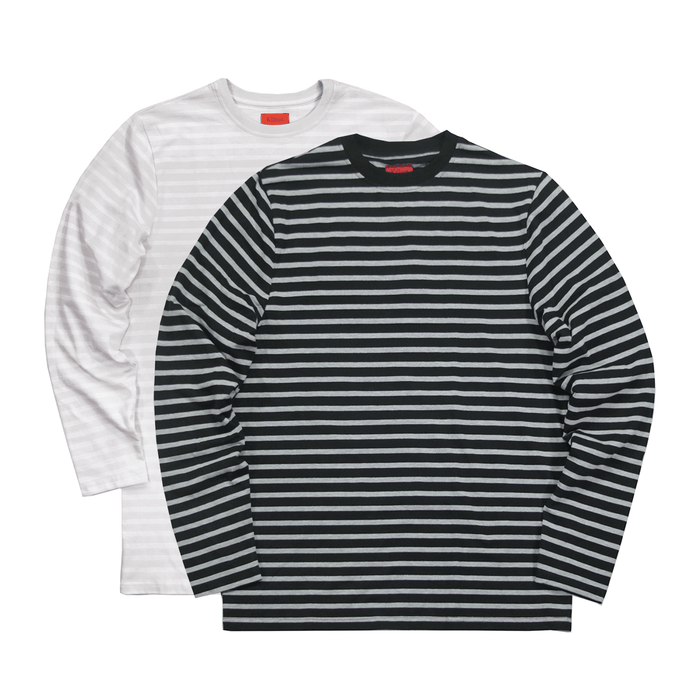 2-Pack Standard Striped LS Essential  - Black-Grey/Grey-White