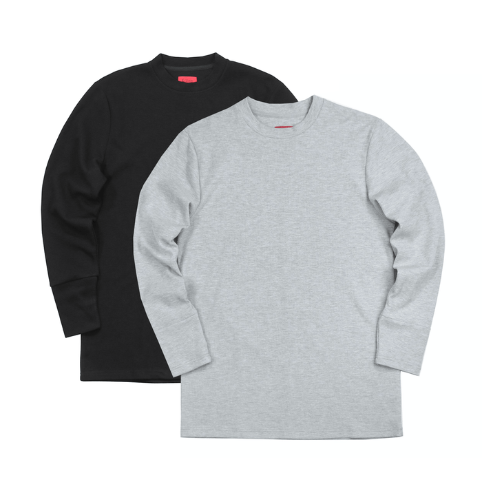 2-Pack Waffle Knit LS - Heather Grey/Black
