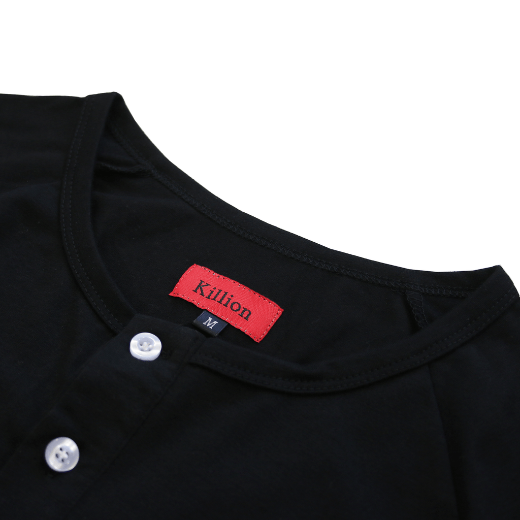 Raglan Scoop Henley - Black