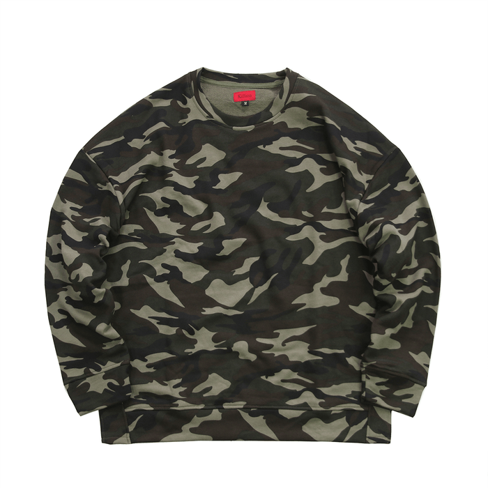 Oversized Side Cut Crewneck - Woodland Forest Camo