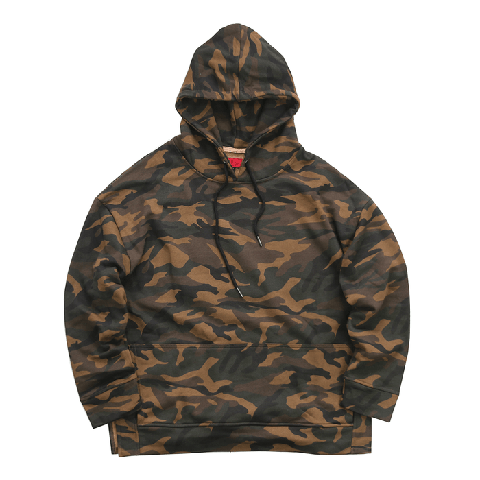 Oversized Side Cut Hoodie - Woodland Camo
