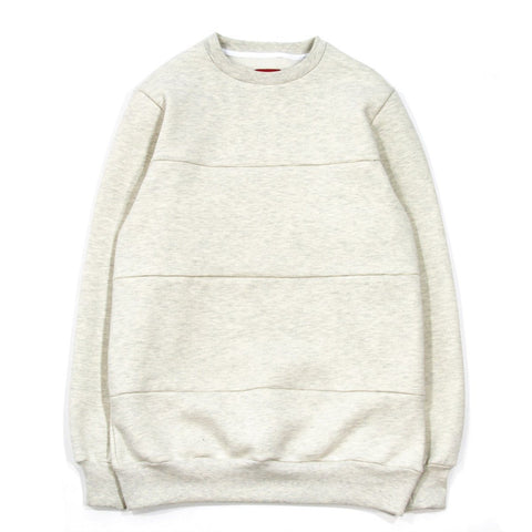 Paneled Crewneck - Cream Heather