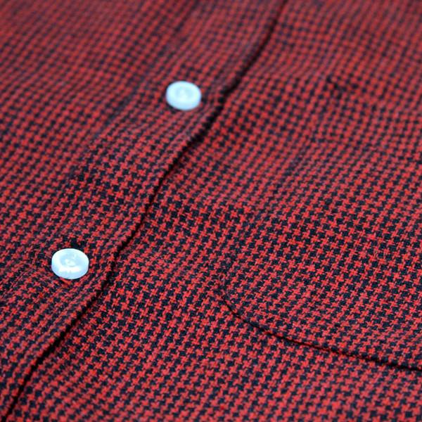 Micro Houndstooth S/S Buttonup - Black/Red