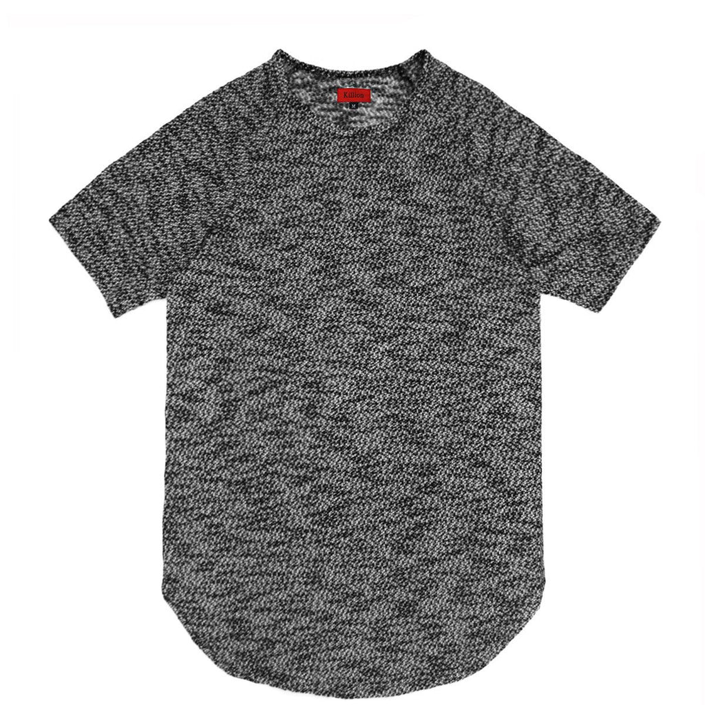 Jacquard Knit Scoop Extended Shirt - Dark