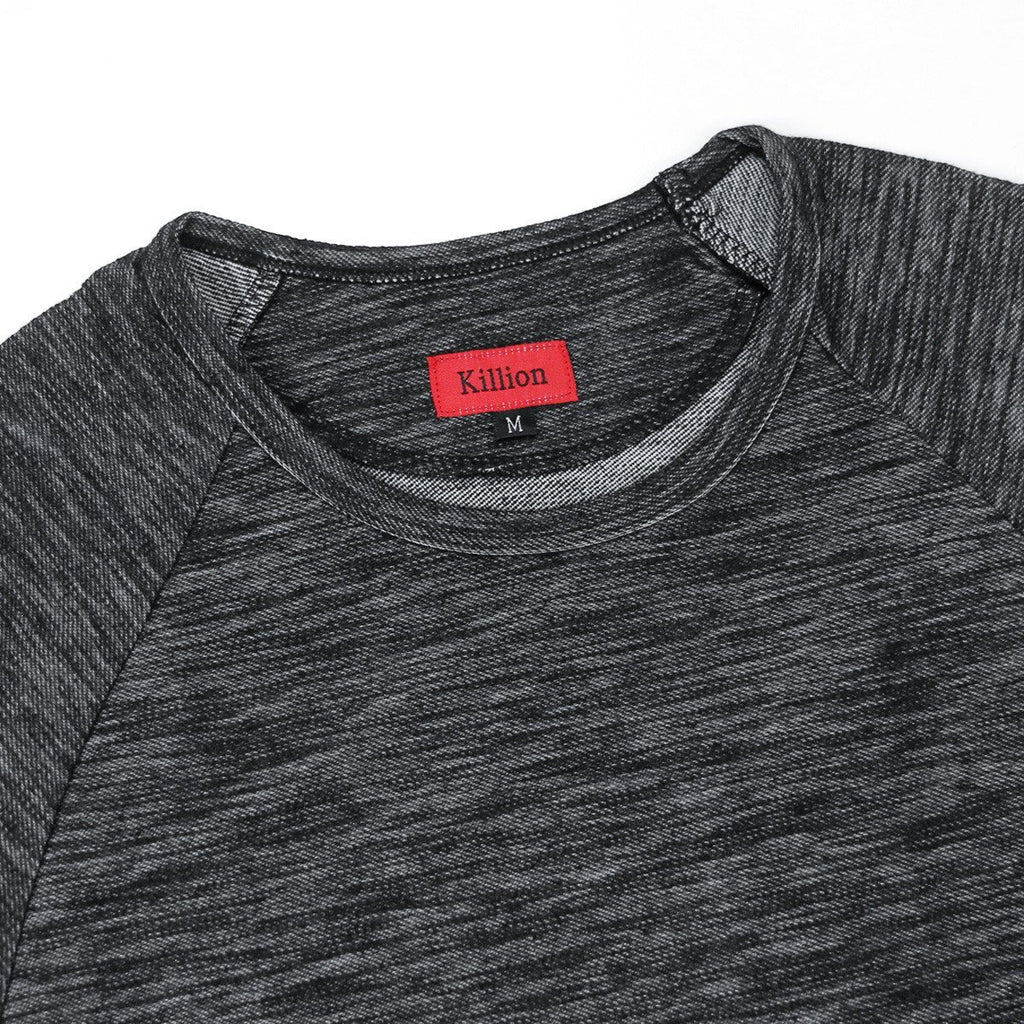 Brushed Melange Extended Scoop Shirt - Black