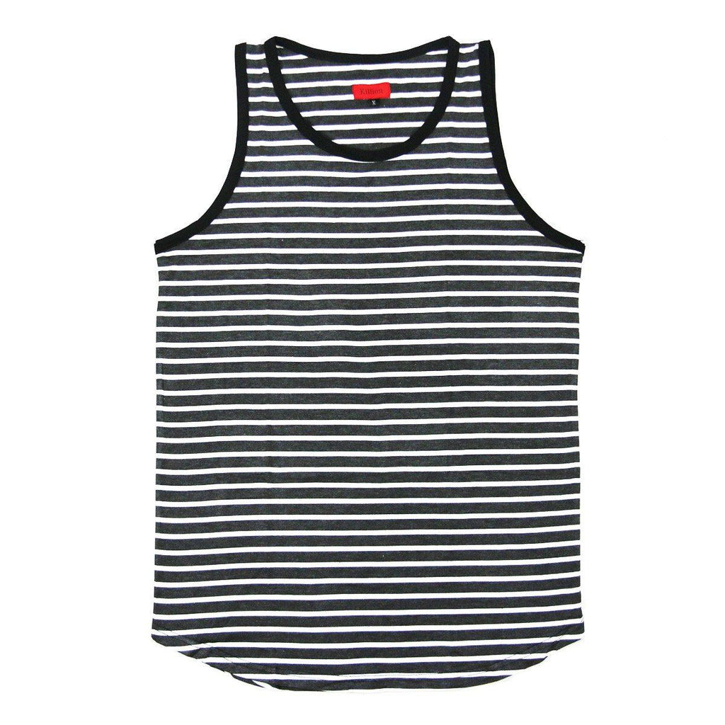 Striped Spandex Cotton Tank - Charcoal/White