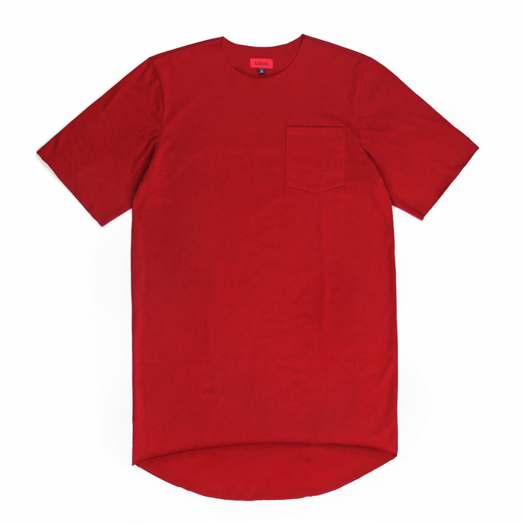 Raw Edges Cotton Pocket Shirt - Crimson