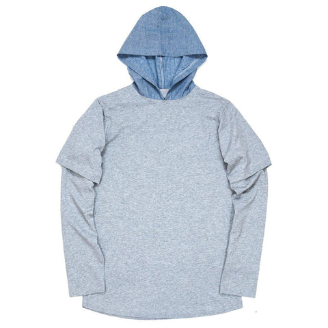 Cham Hooded L/S Essential - Heather Grey