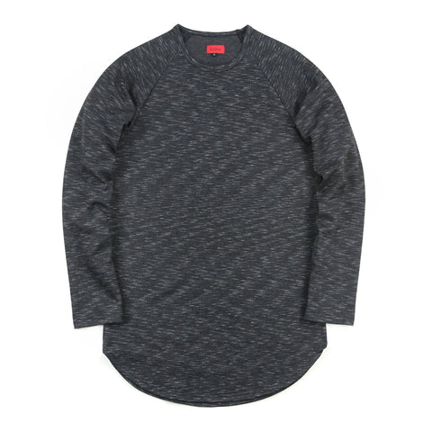 Marled Scoop Long Sleeve - Black