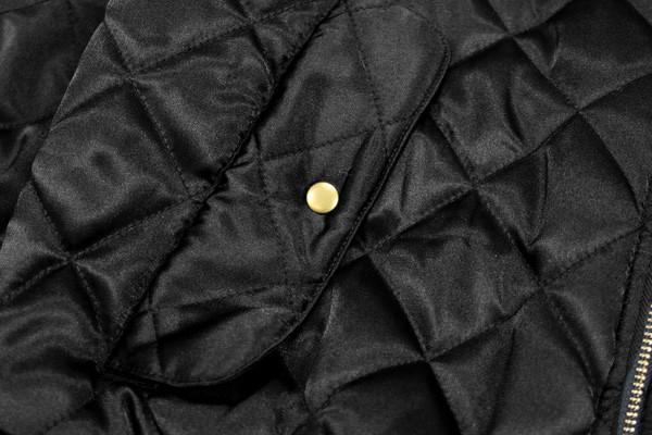 Quilted Satin MA-1 Bomber - Black