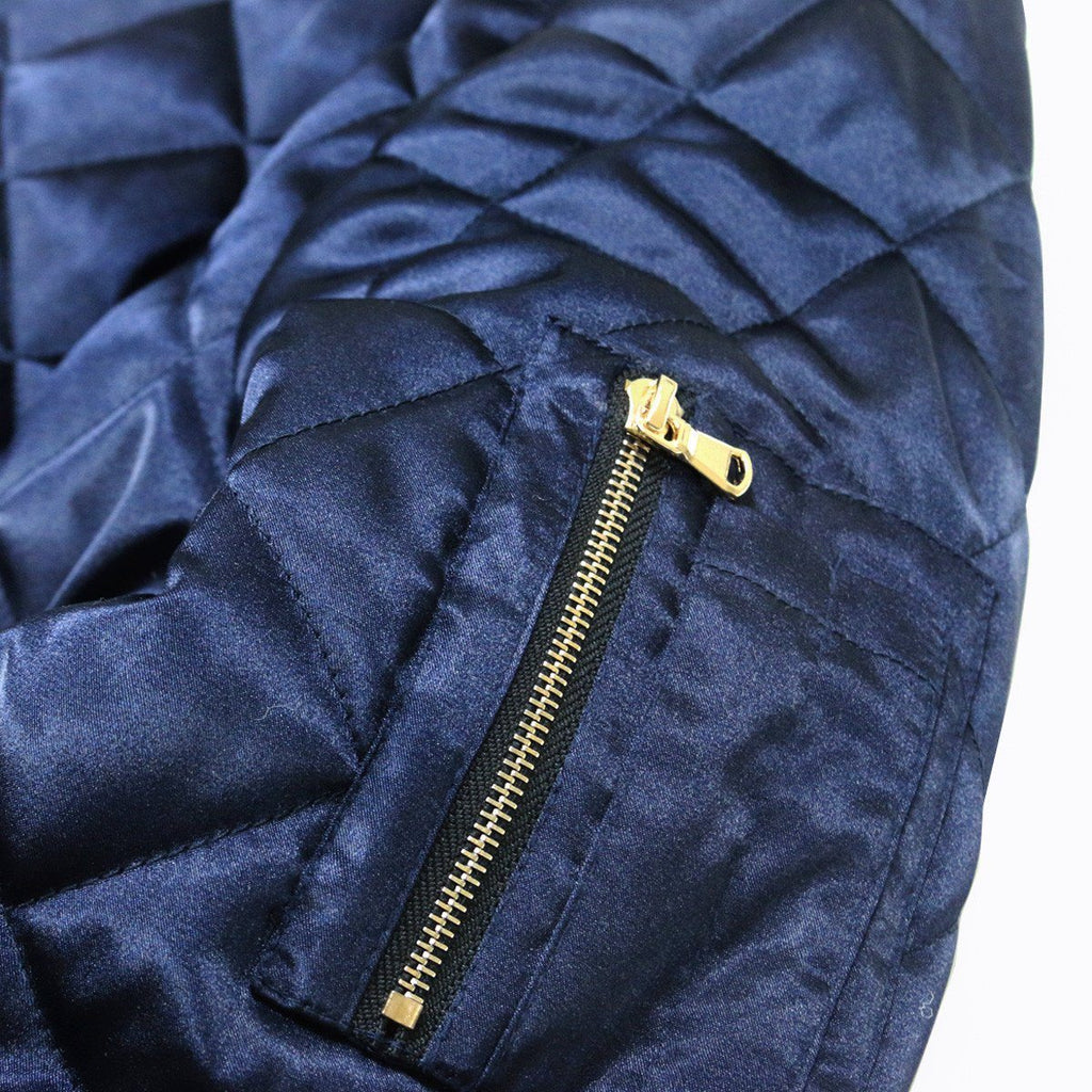 Quilted Satin MA-1 Bomber - Navy