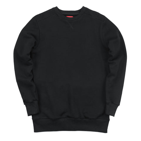 Overlap Crewneck Sweater - Black