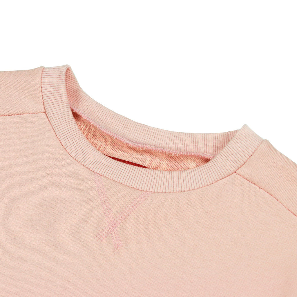 Overlap Crewneck Sweater - Peach