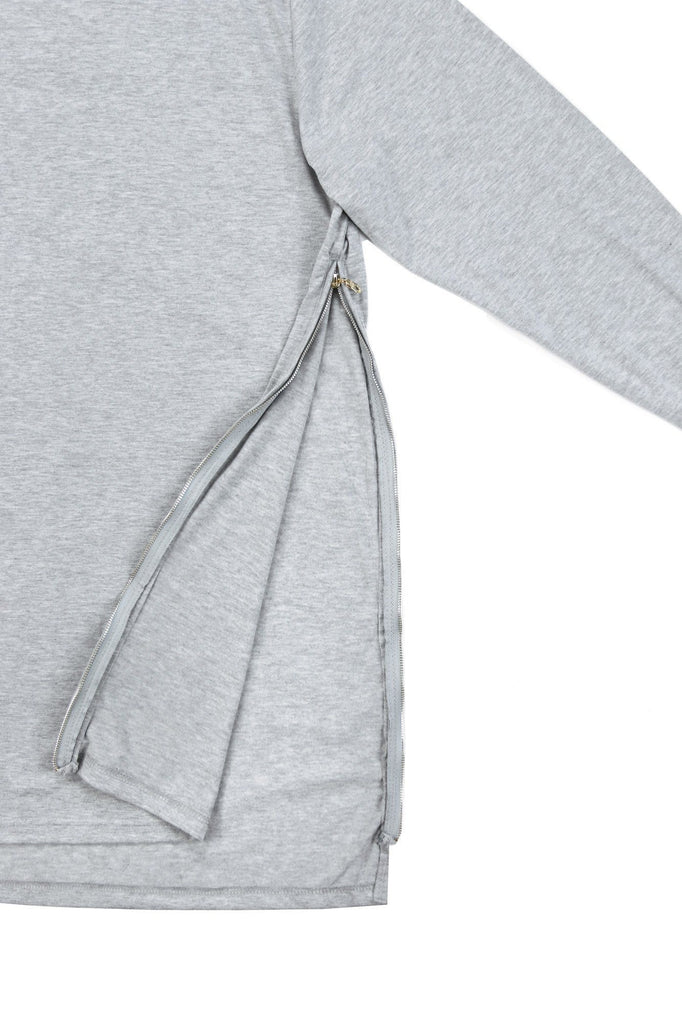 Side Zip Cuffed LS Essential - Heather Grey