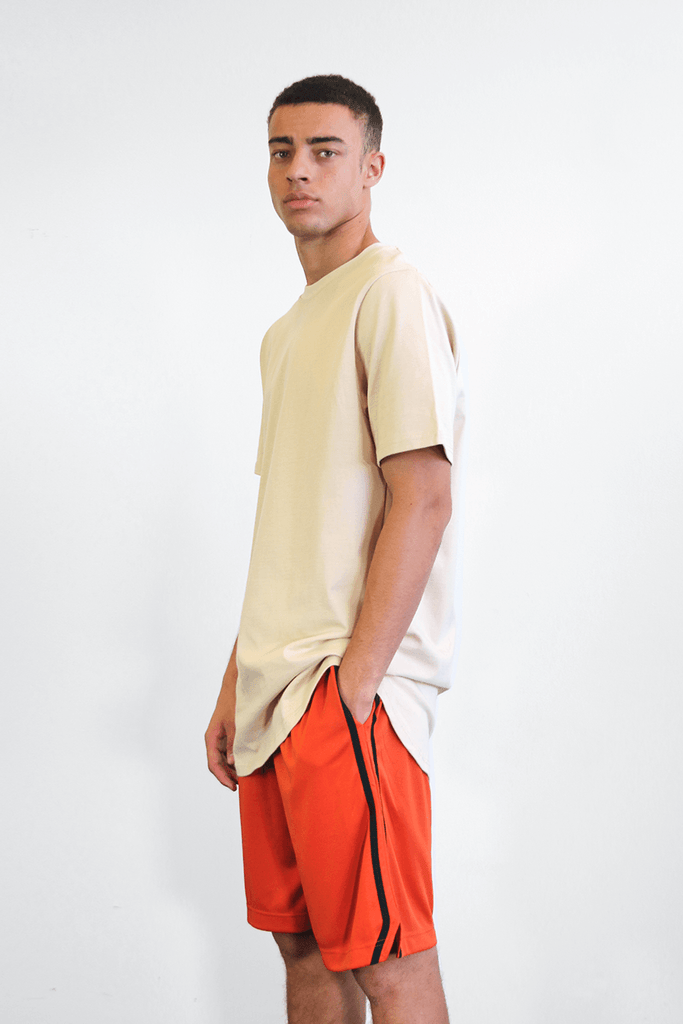 Split Stripe Basketball Shorts - Rust