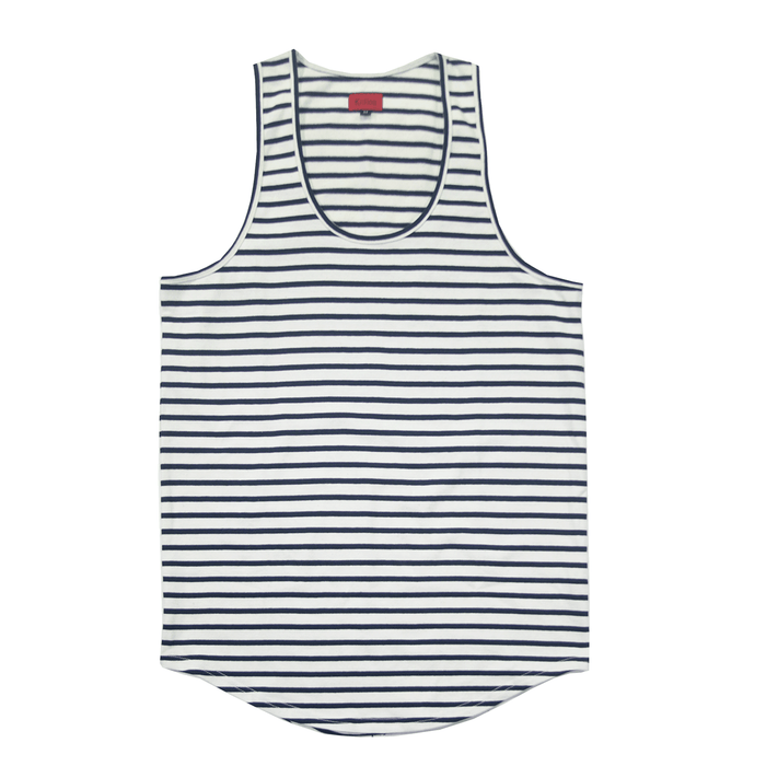 Scoop Striped Tank Top - Cream/Navy