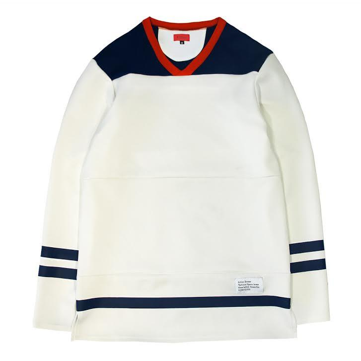 Paneled Hockey Top - Beige/Navy