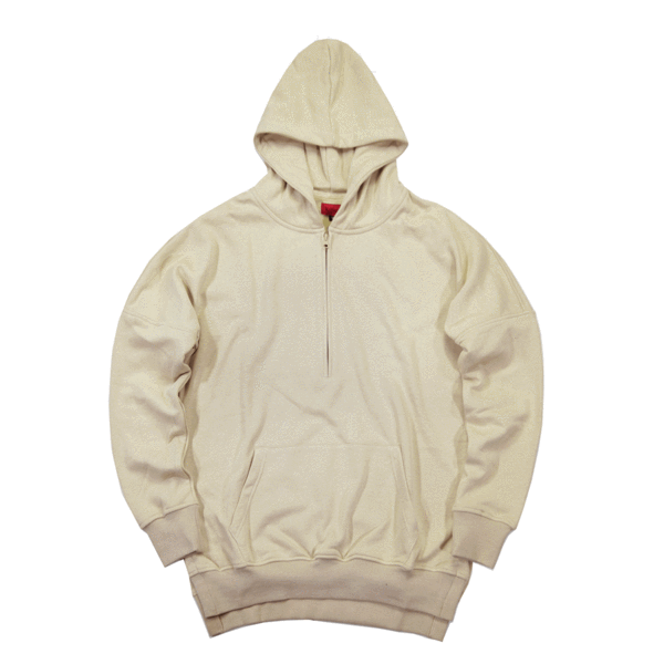 new products for search for genuine best place for Side Cut Quarter Zip Hoodie - Sand