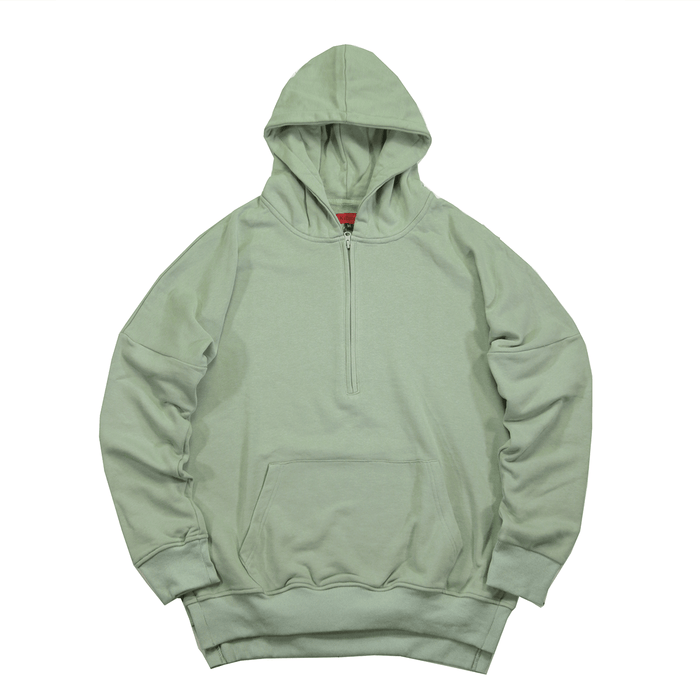Side Cut Quarter Zip Hoodie - Washed Olive (04.18 Release)
