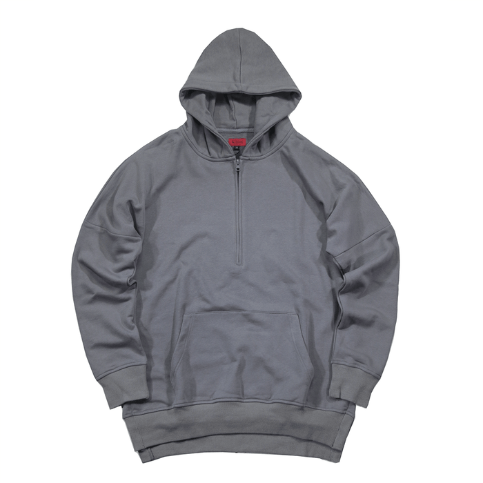 Side Cut Quarter Zip Hoodie - Washed Charcoal