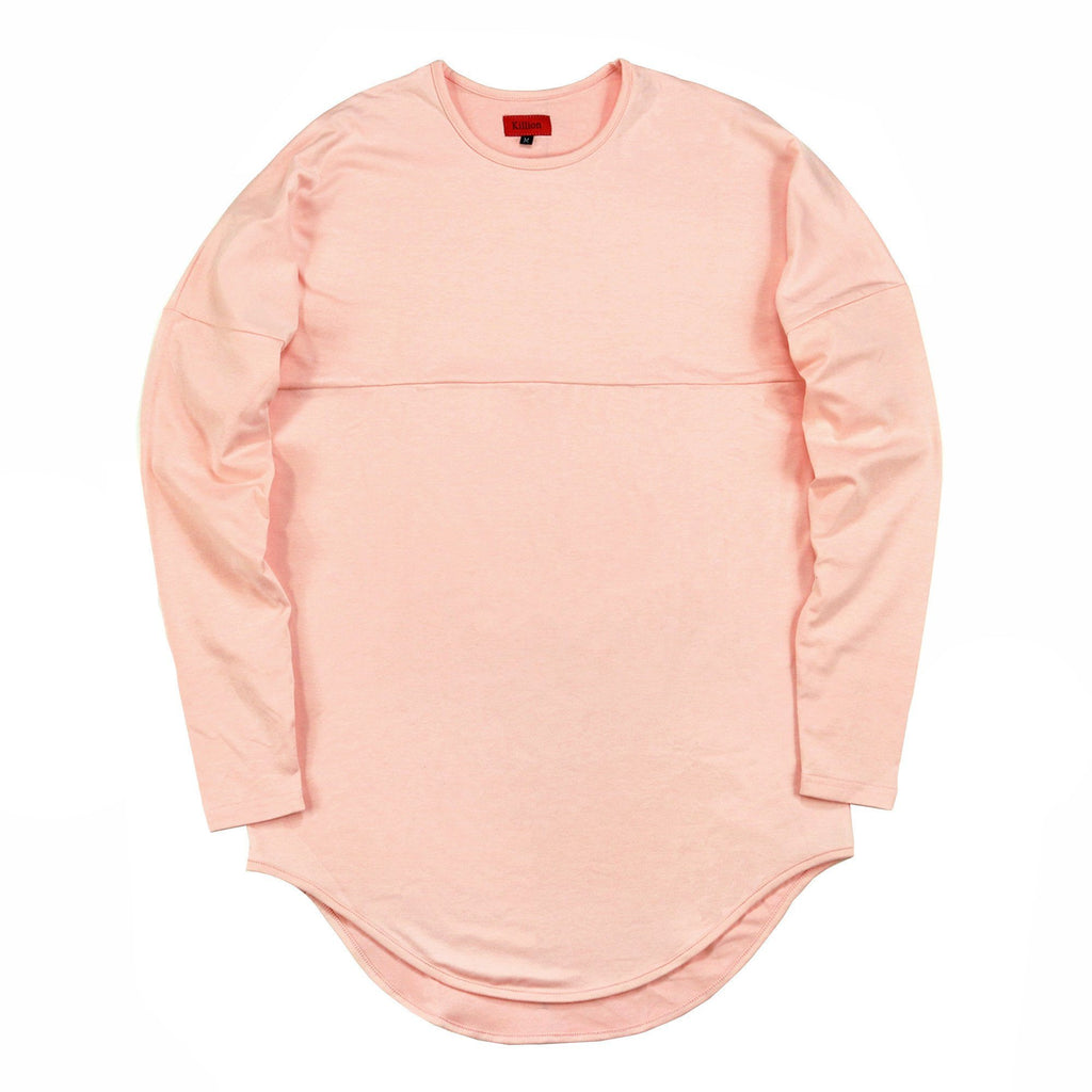 Dropped Shoulder Scalloped LS - Peach