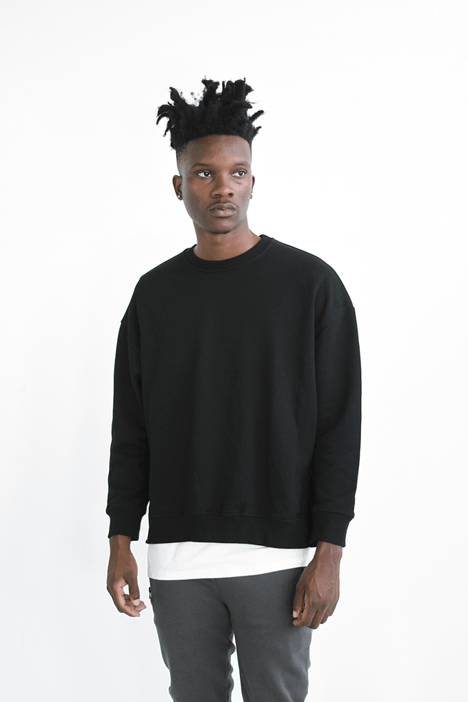 Oversized Side Cut Crewneck - Black