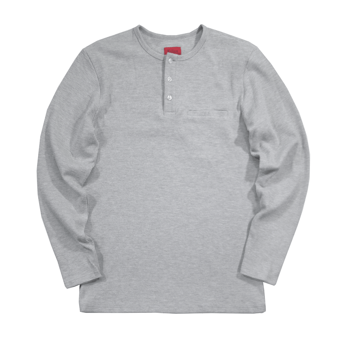 Henley Waffle Knit Long Sleeve - Heather Grey