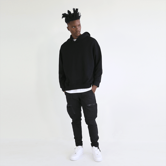 Oversized Side Cut Hoodie - Black