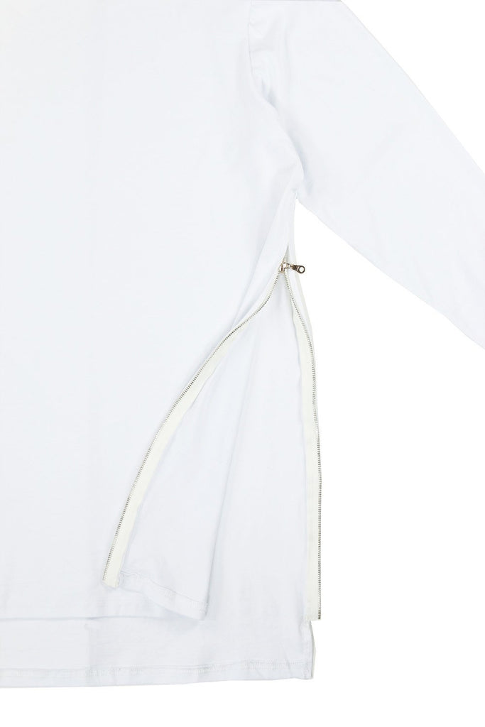 Side Zip Cuffed LS Essential - White