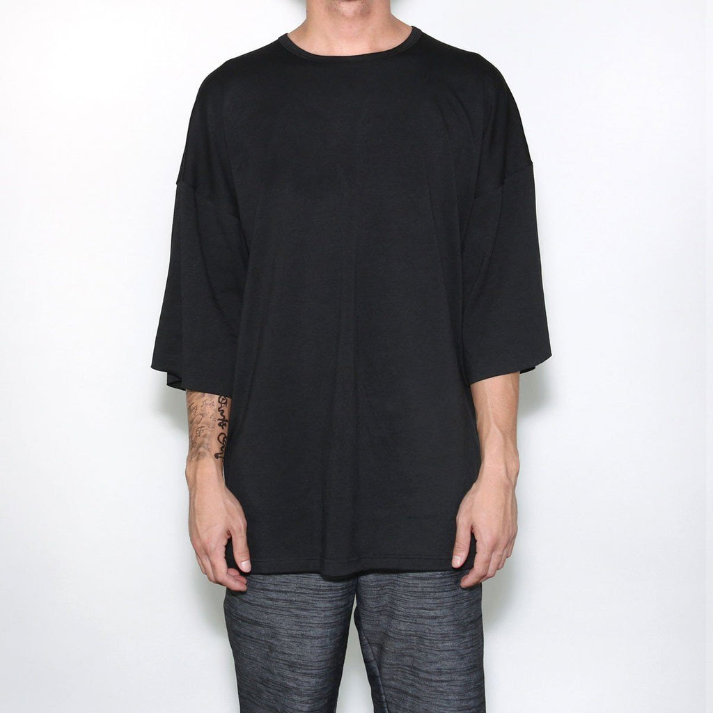 3/4 Sleeve Boxy Shirt - Black