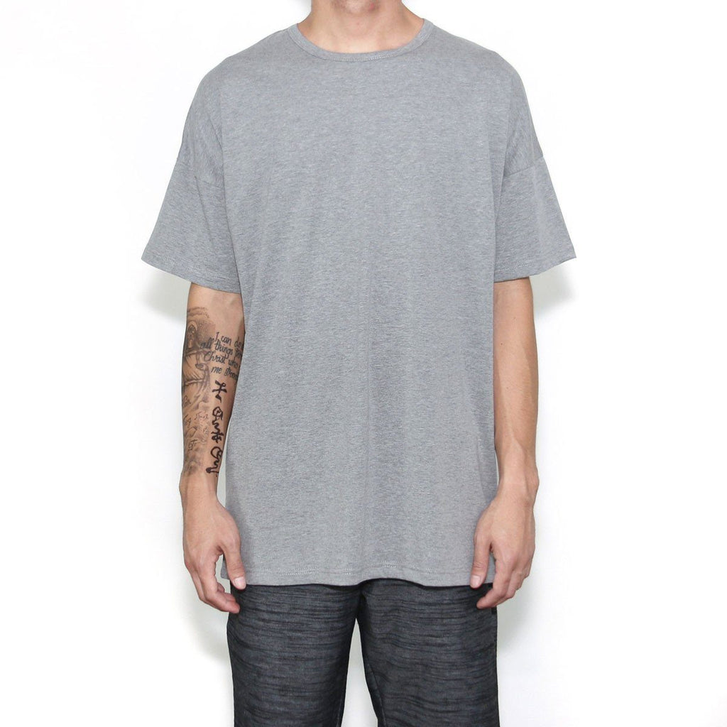 Essential Dropped Shoulder Box Tee - Charcoal Heather
