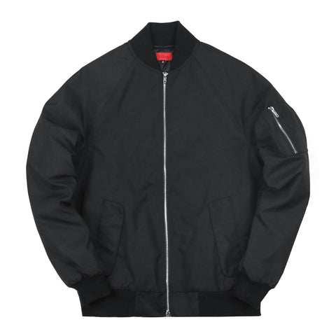 Fall Raglan MA-1 Bomber Jacket - Black