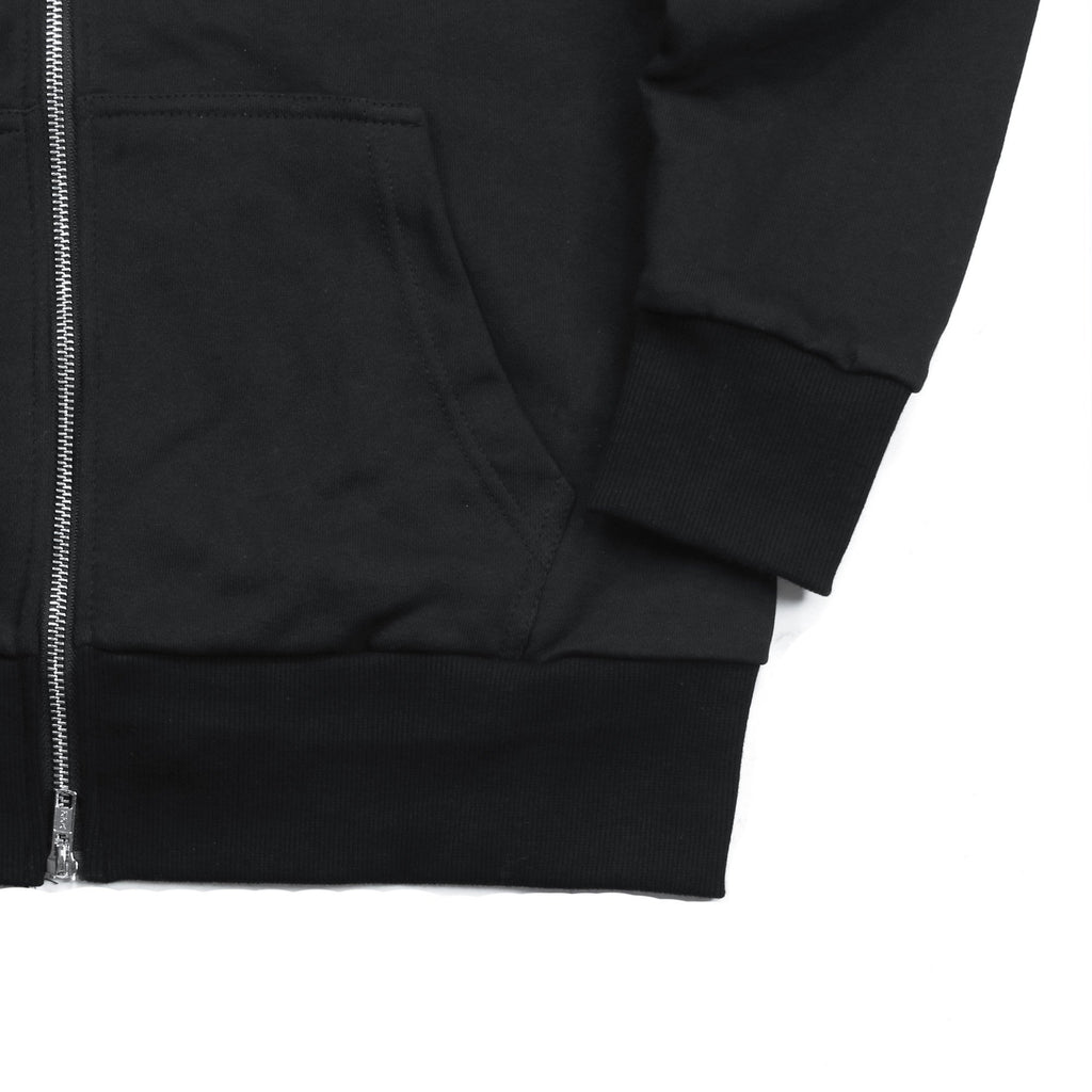French Terry Zip Hoodie - Black