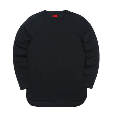 Half Scoop Hem Long Sleeve - Black (Preorder)