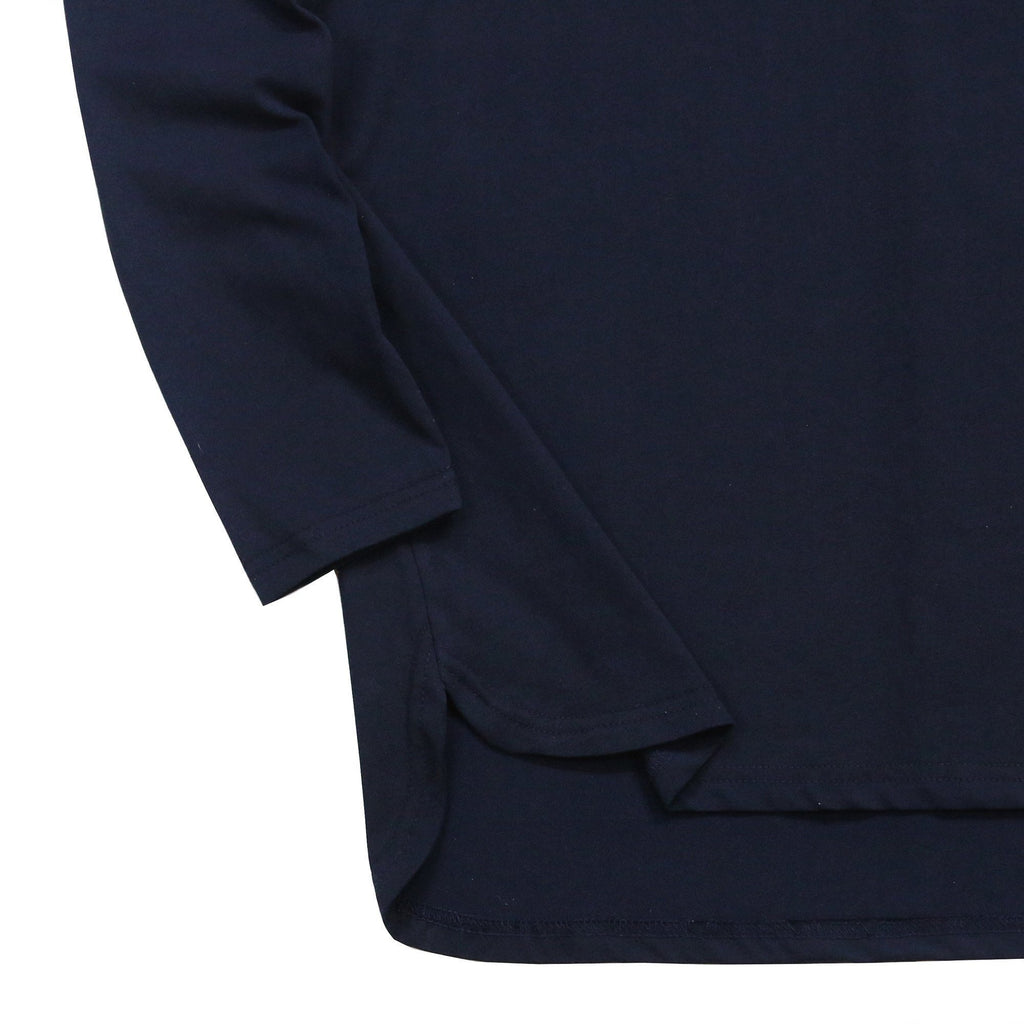 Half Scoop Hem Long Sleeve - Navy