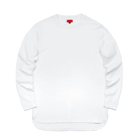 Half Scoop Hem Long Sleeve - White (Preorder)