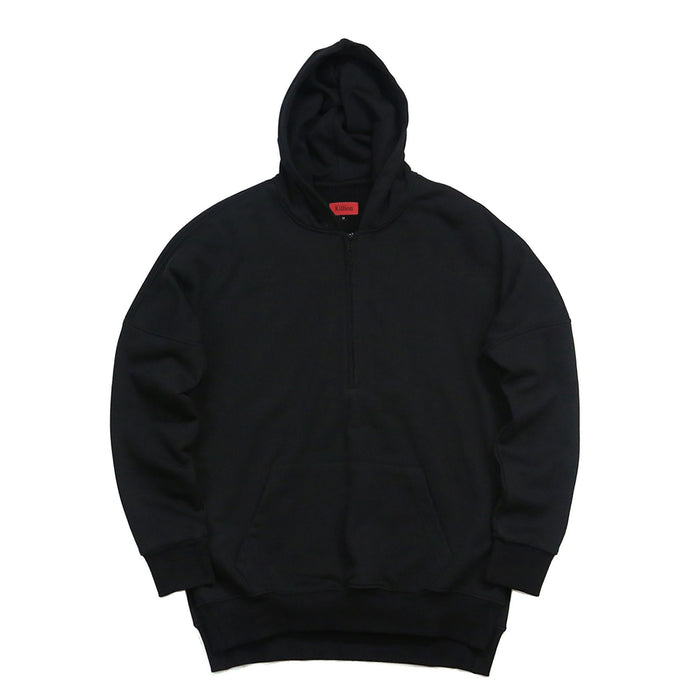 Side Cut Quarter Zip Hoodie - Black  (04.18 Release)