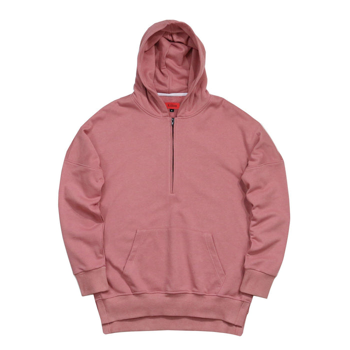 Access Preorder - Side Cut Quarter Zip Hoodie - Peach