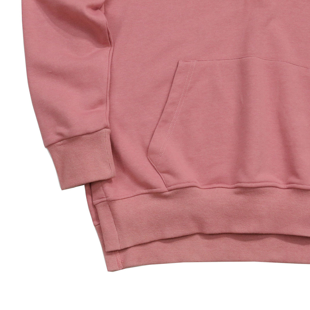 Side Cut Quarter Zip Hoodie - Peach