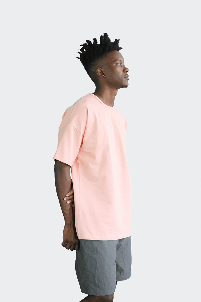 Textured Drop Shoulder Boxy Tee - Peach