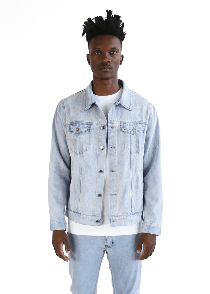 SI Zip-Cuff Denim Jacket - Bleach Blue