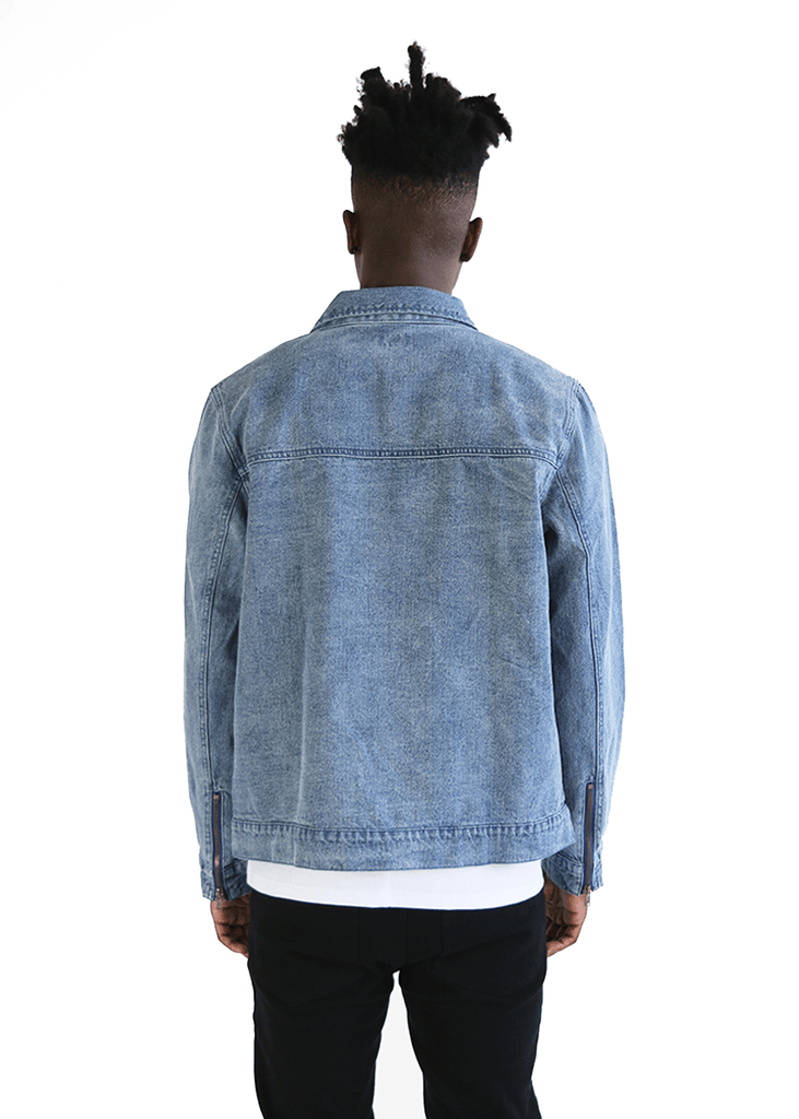 SI Zip-Cuff Denim Jacket - Medium Blue