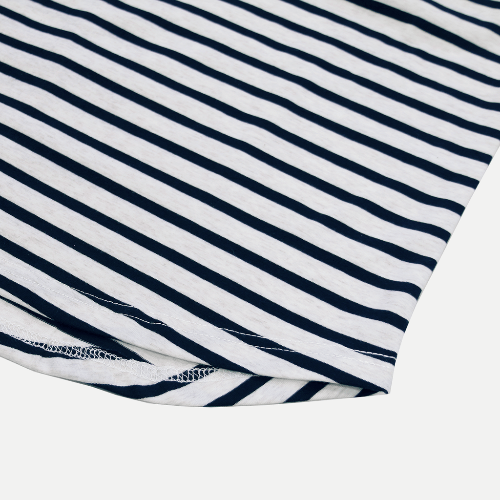 Mulberry Striped Scalloped Shirt - Oatmeal/Navy