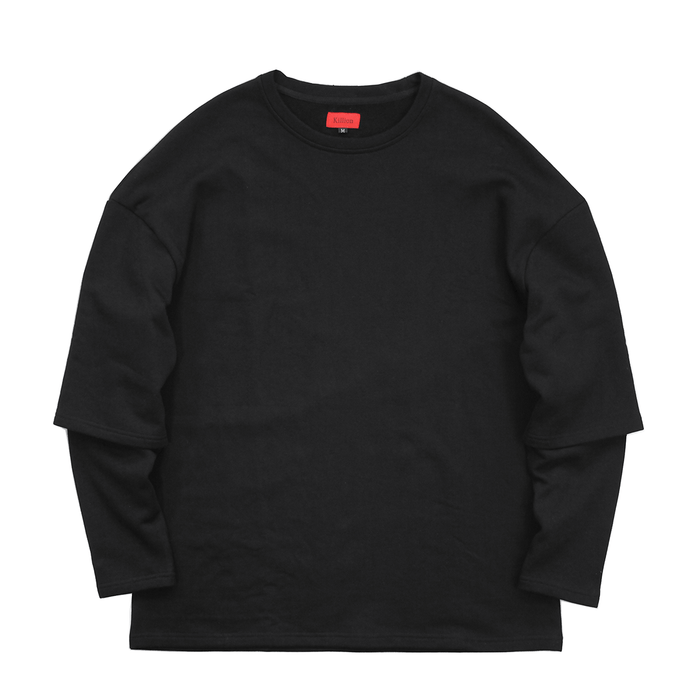 (11.28.19 7PM PT) Oversized Double Sleeve Crewneck - Black