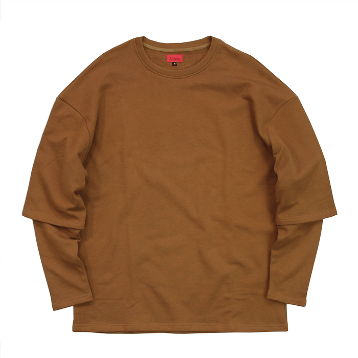 (11.28.19 7PM PT) Oversized Double Sleeve Crewneck - Burnt Sienna
