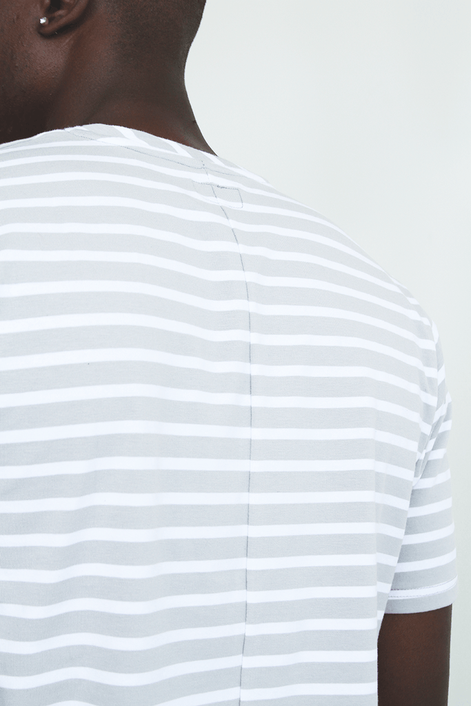 Mulberry Striped Scalloped Shirt - Light Grey/White