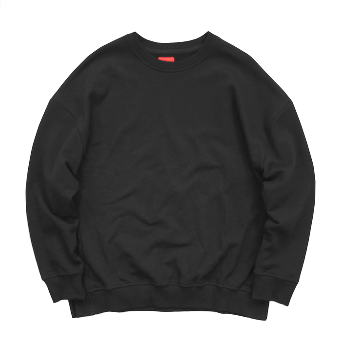 (12.09.19 Release ) Oversized Side Cut Crewneck - Black
