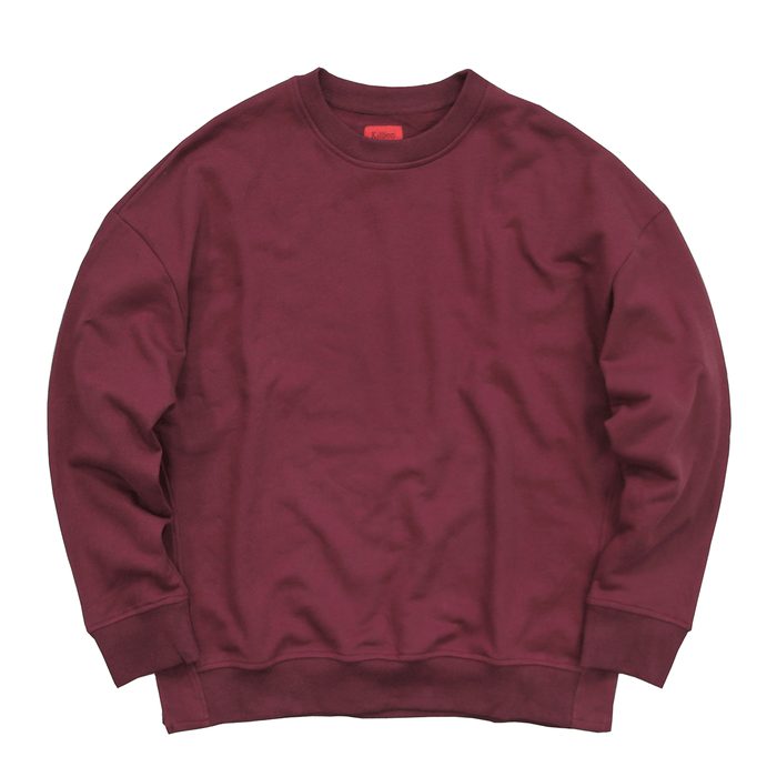 Oversized Side Cut Crewneck - Maroon