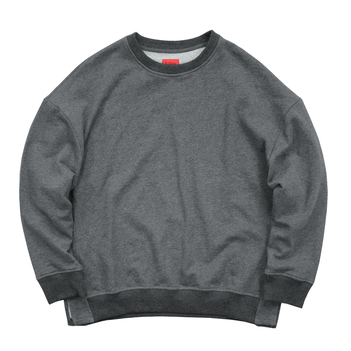Oversized Side Cut Crewneck - Dark Grey